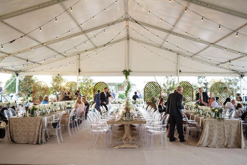 Elegant Neutral Marquee Wedding Reception