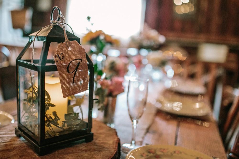 Rustic Vintage Lantern Wedding Centerpiece