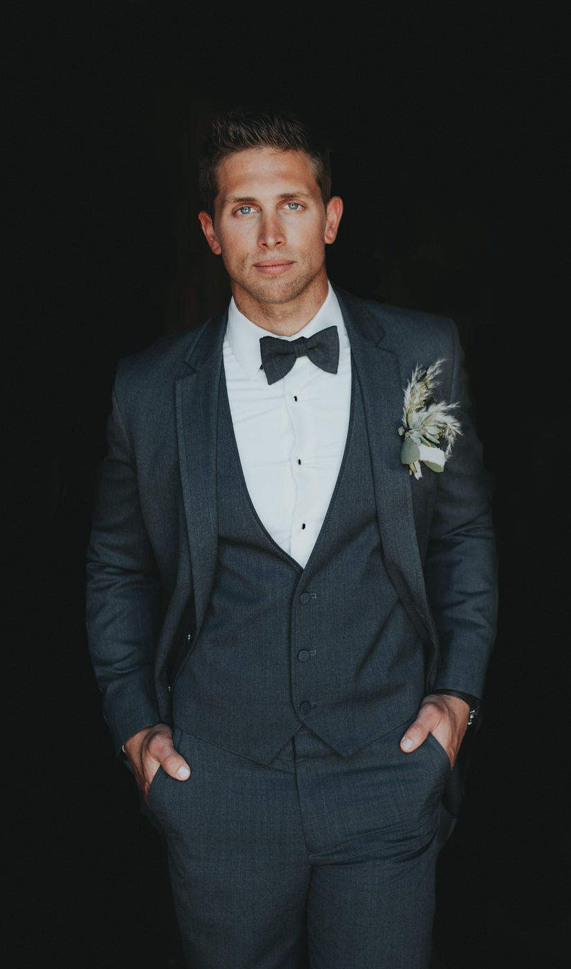 Modern Vintage Groom in a 3 Piece Suit
