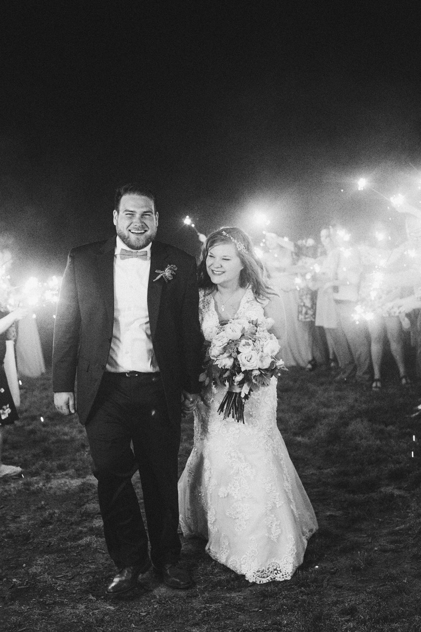 Rustic Vintage Wedding Sparkler Exit