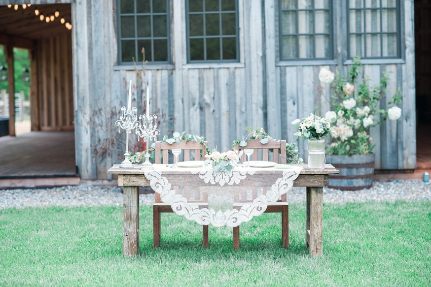 Rustic Vintage Wedding Sweetheart Table