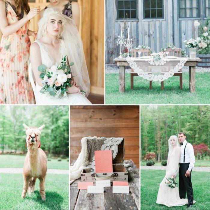 Rustic Vintage Farm Wedding Inspiration Featuring the Cutest Alpaca!