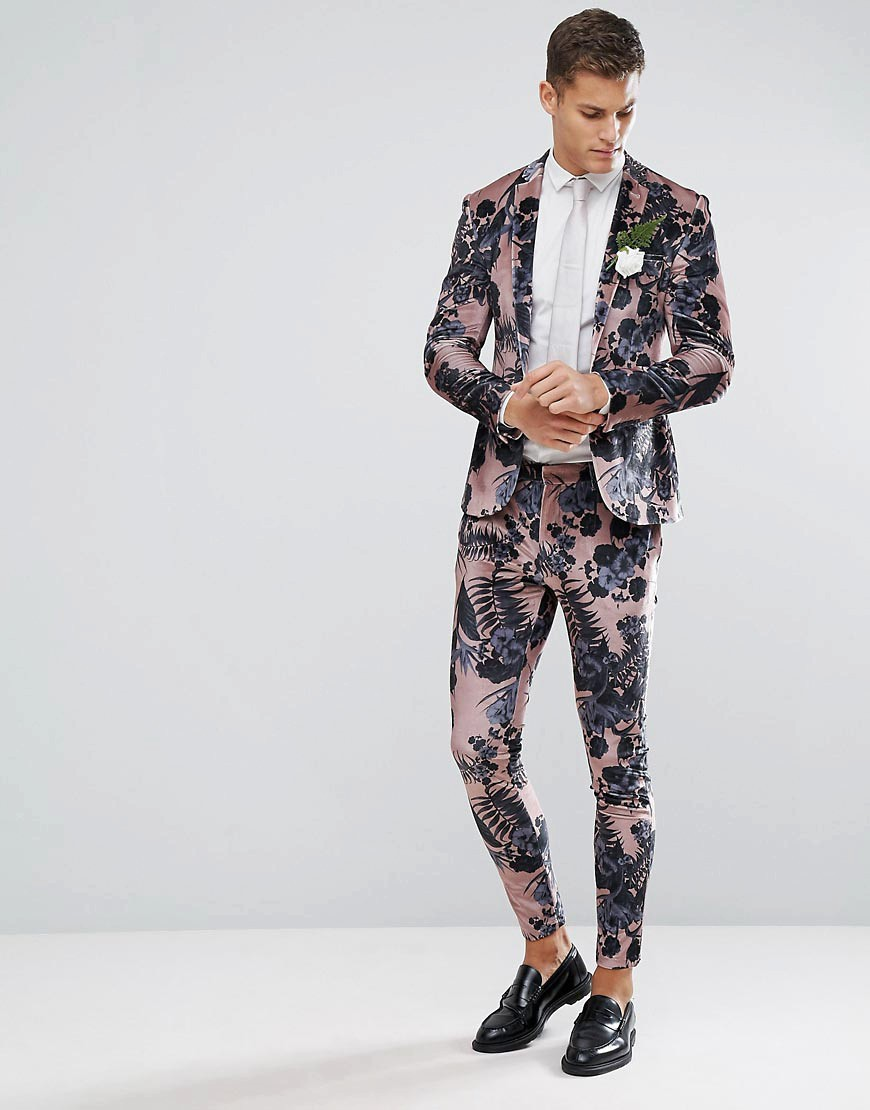 Velvet Floral Groom's Suit