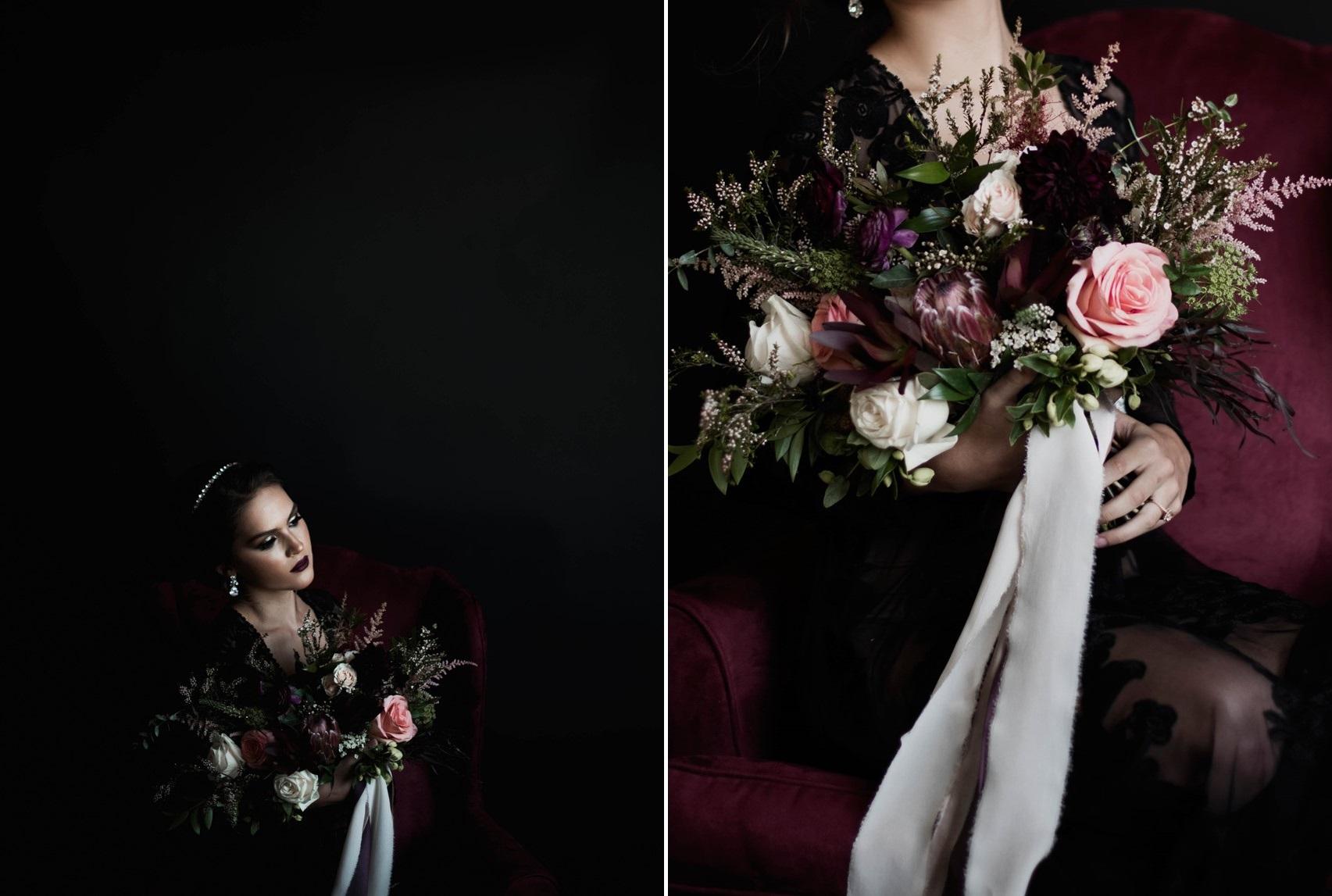Dark & Moody Bride with Red Bridal Bouquet