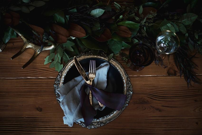 Gothic Purple Wedding Place Setting