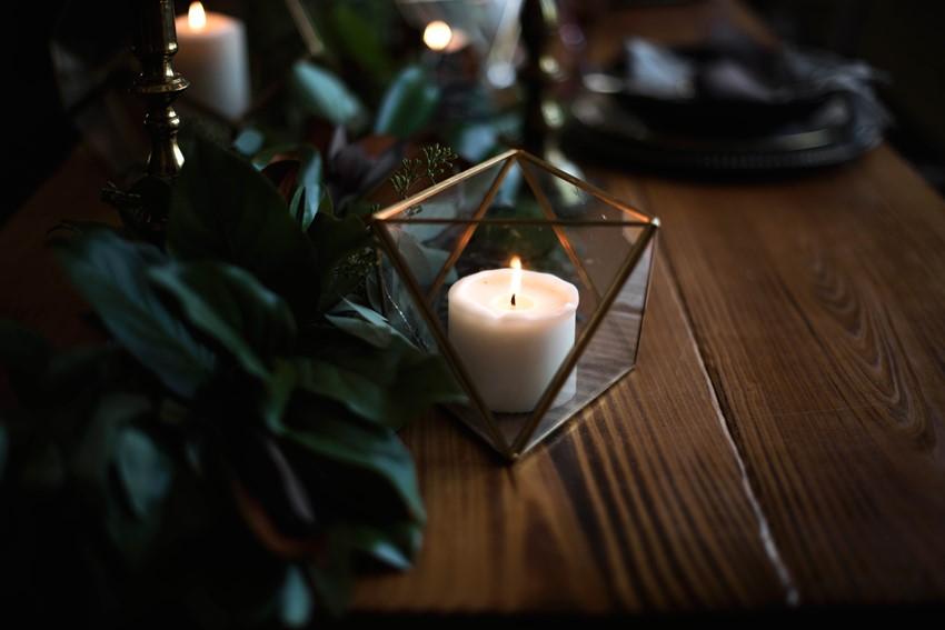 Geometric Candleholder Wedding Centerpiece