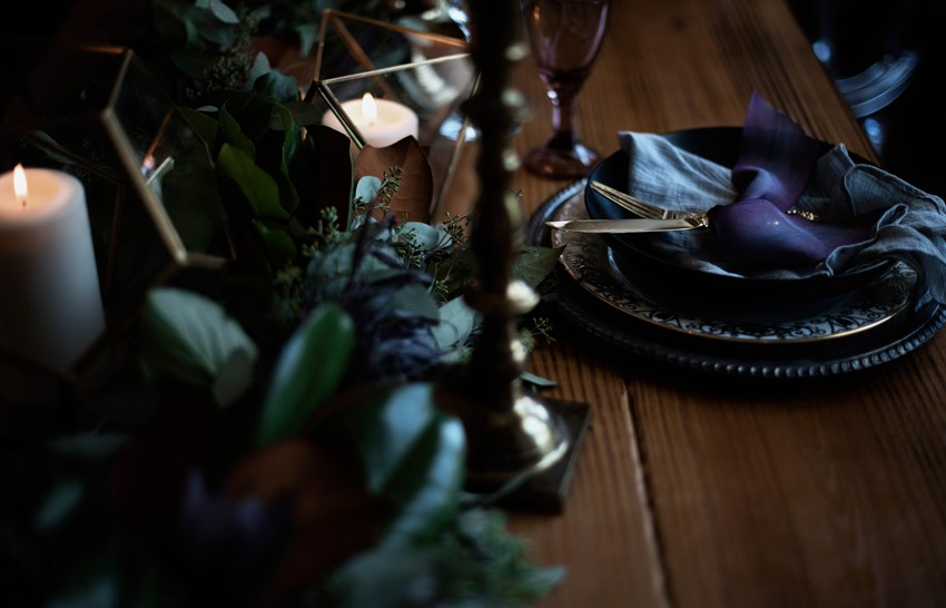 Purple Wedding Place Setting