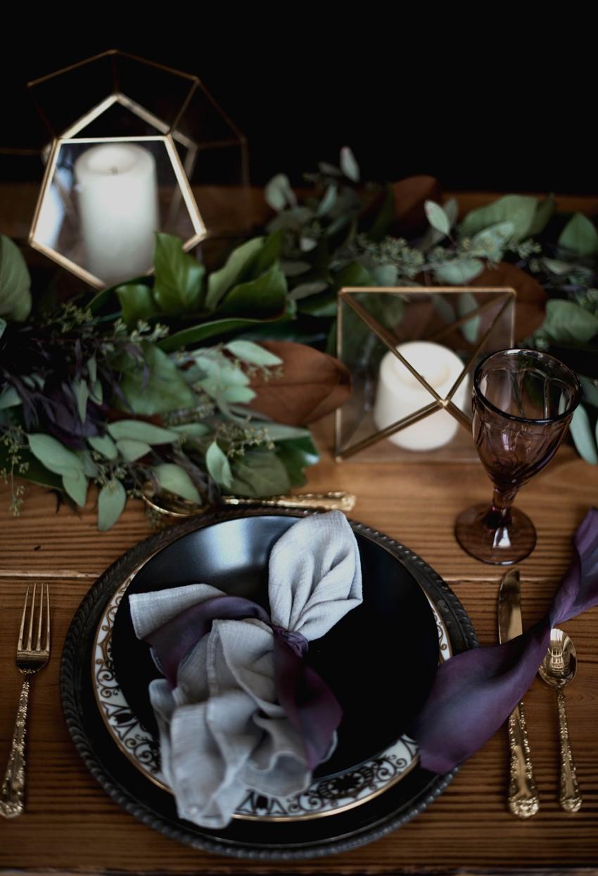 Dark & Moody Wedding Place Setting