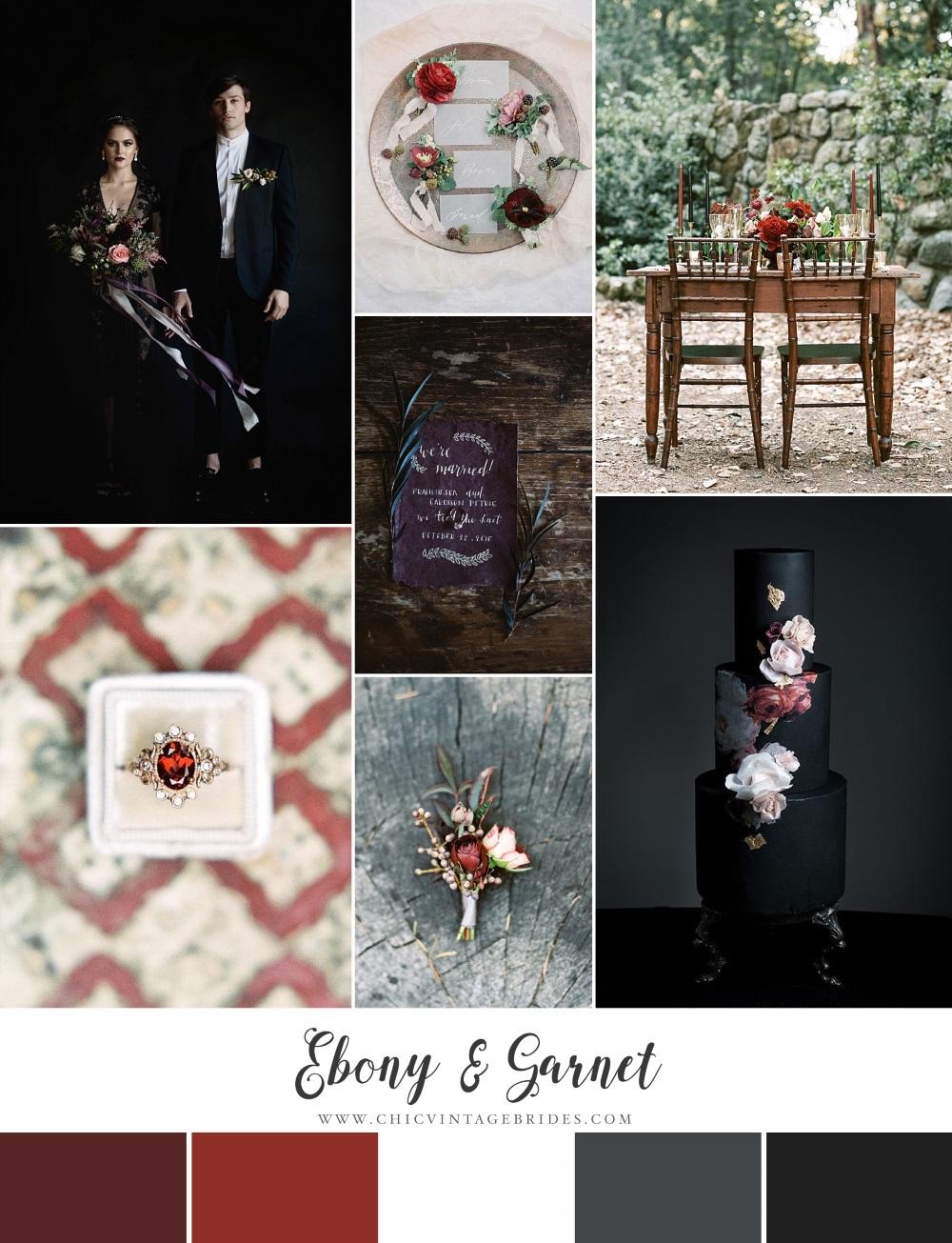 Ebony & Garnet - Halloween Wedding Inspiration Board