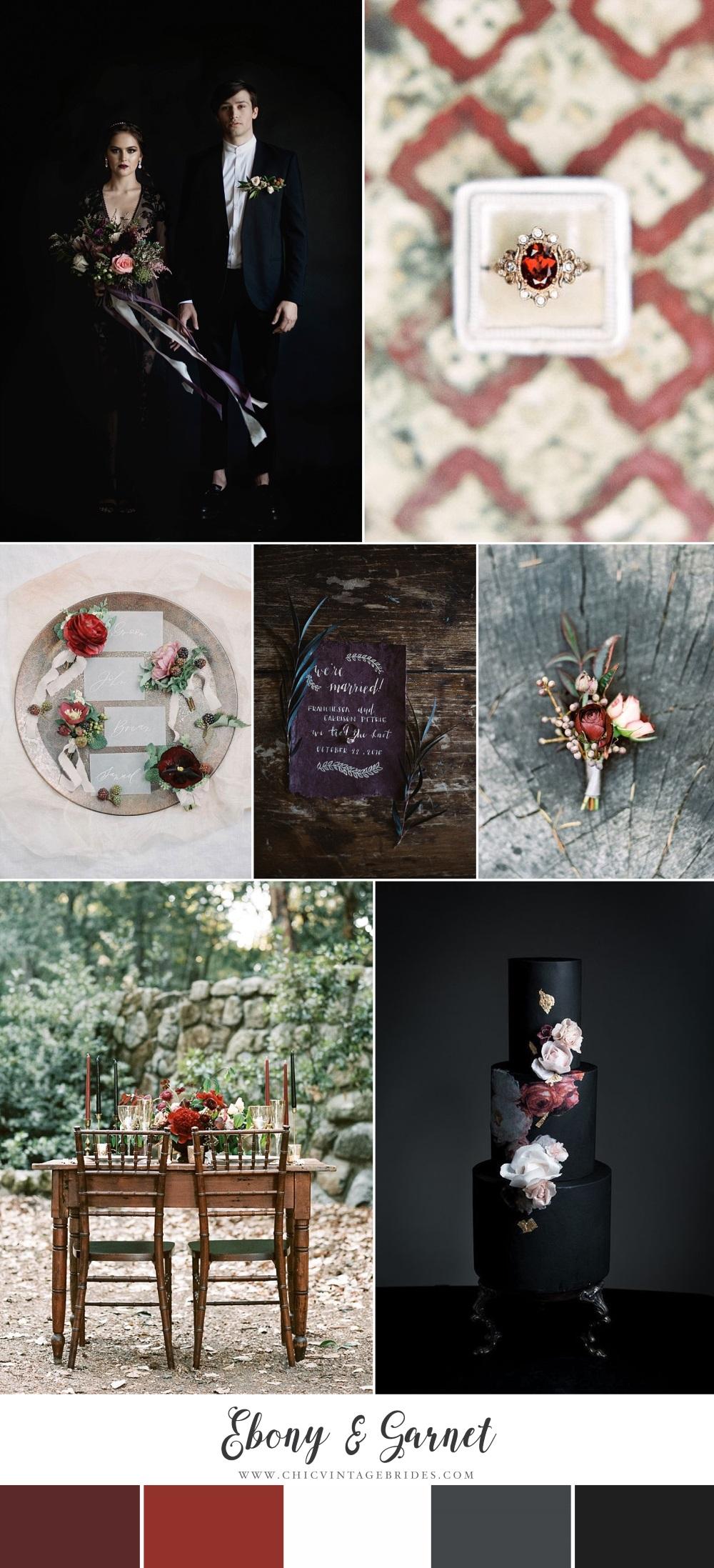 Ebony & Garnet - Dramatic Halloween Wedding Inspiration Board
