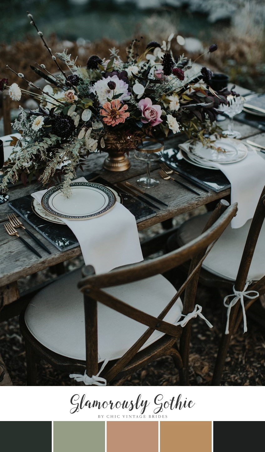 Glamorously Gothic Winter Wedding Colour Palette
