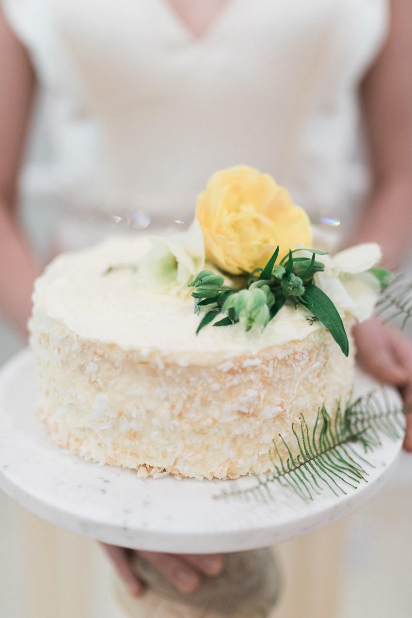 Simple Single Tier White Wedding Cake