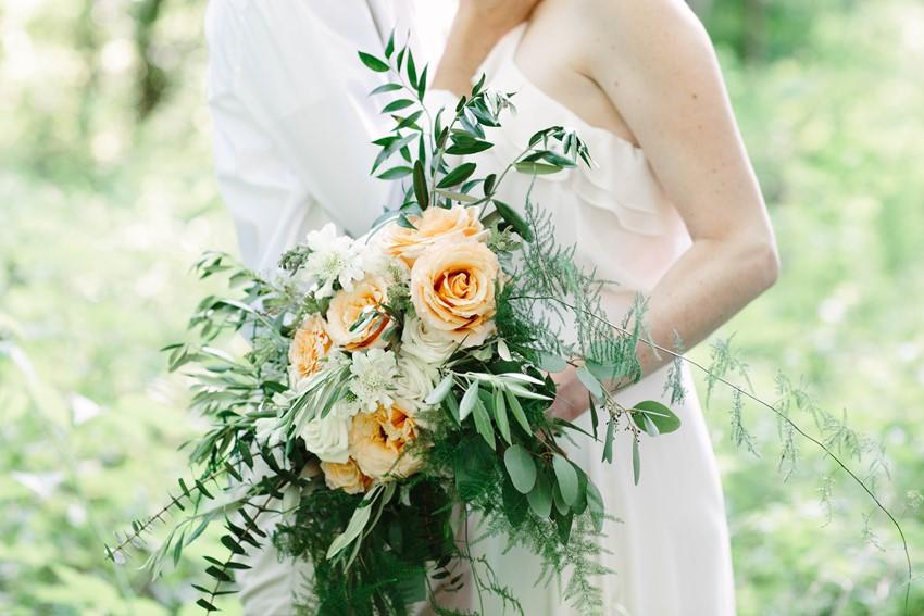 Spring Peach Rose & Greenery Bridal Bouquet