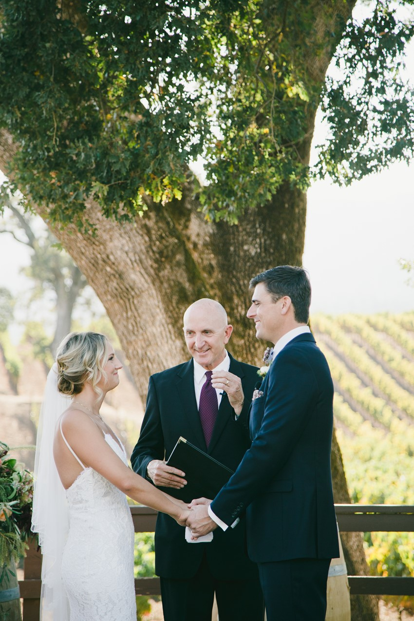 Winery Wedding Ceremony Under a Tree