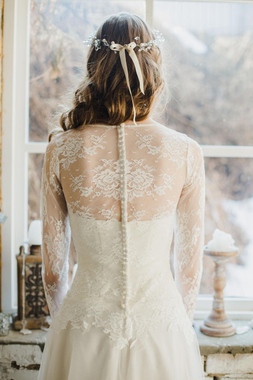 Romantic V Neck Wedding Dress With Lace Bodice Chic