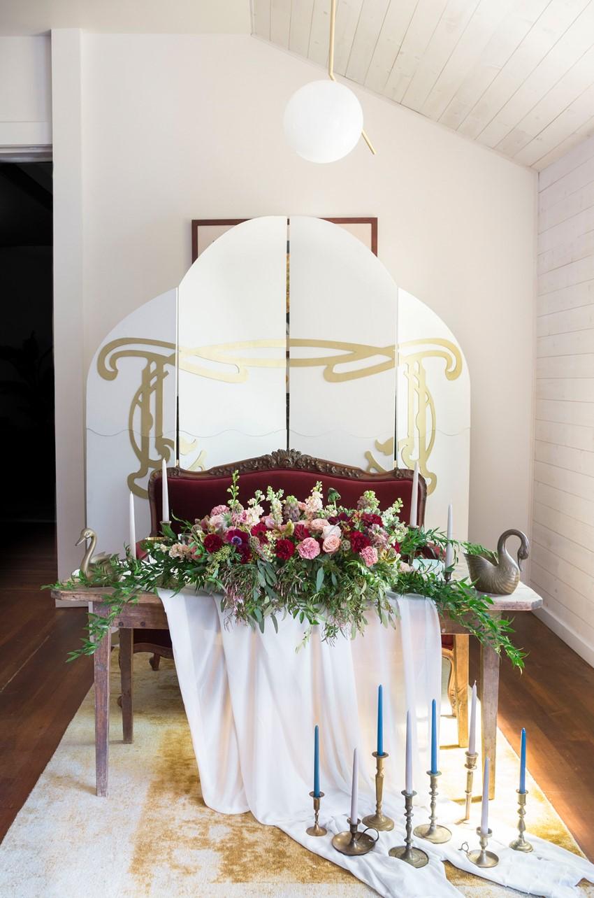 Art Nouveau Wedding Sweetheart Table