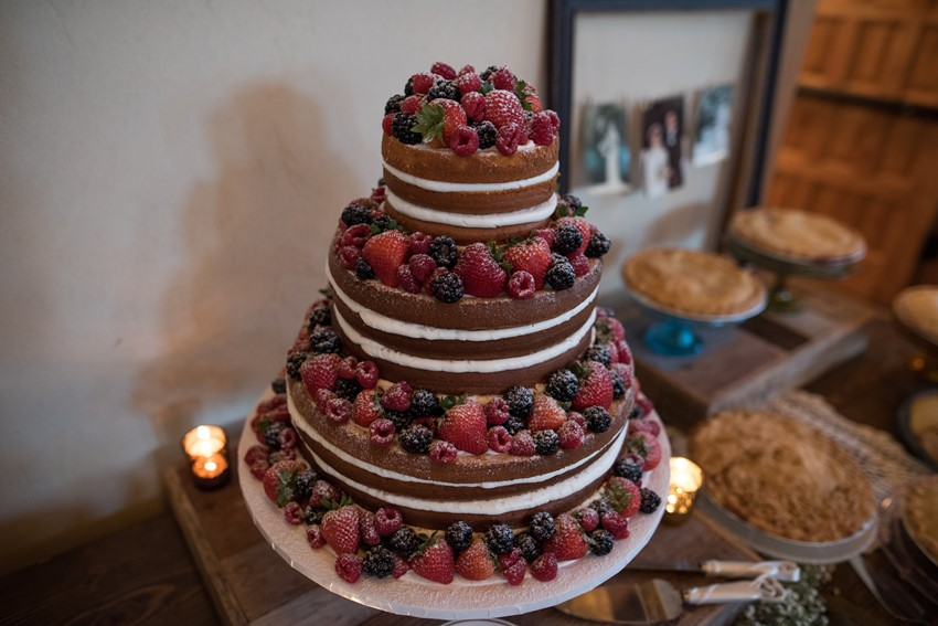 Naked Berry Topped Wedding Cake