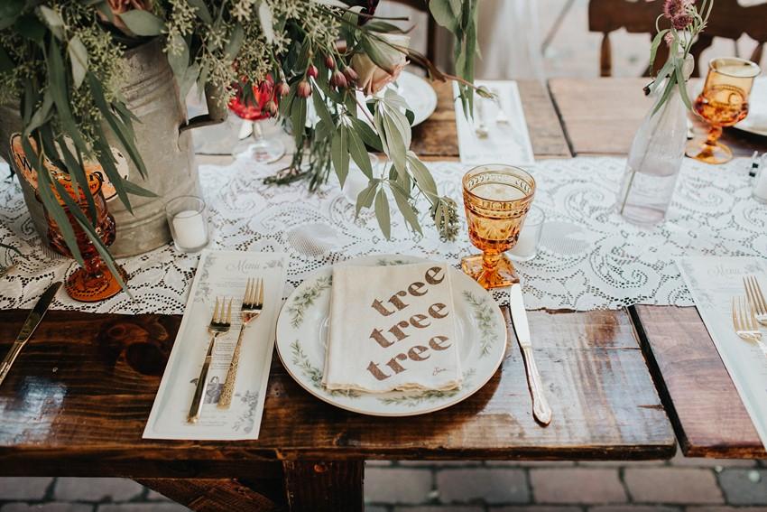 Rustic Vintage Garden Wedding Place Setting