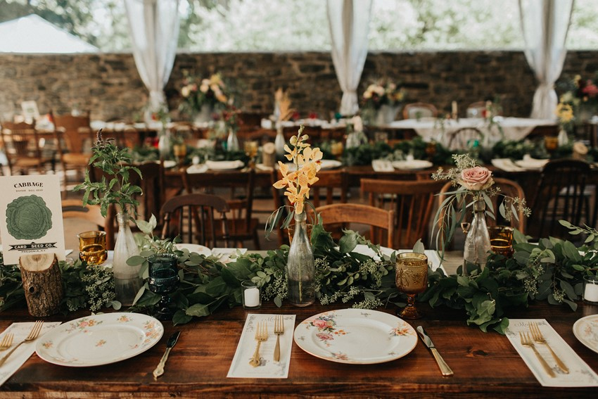 Rustic Vintage Garden Wedding Reception