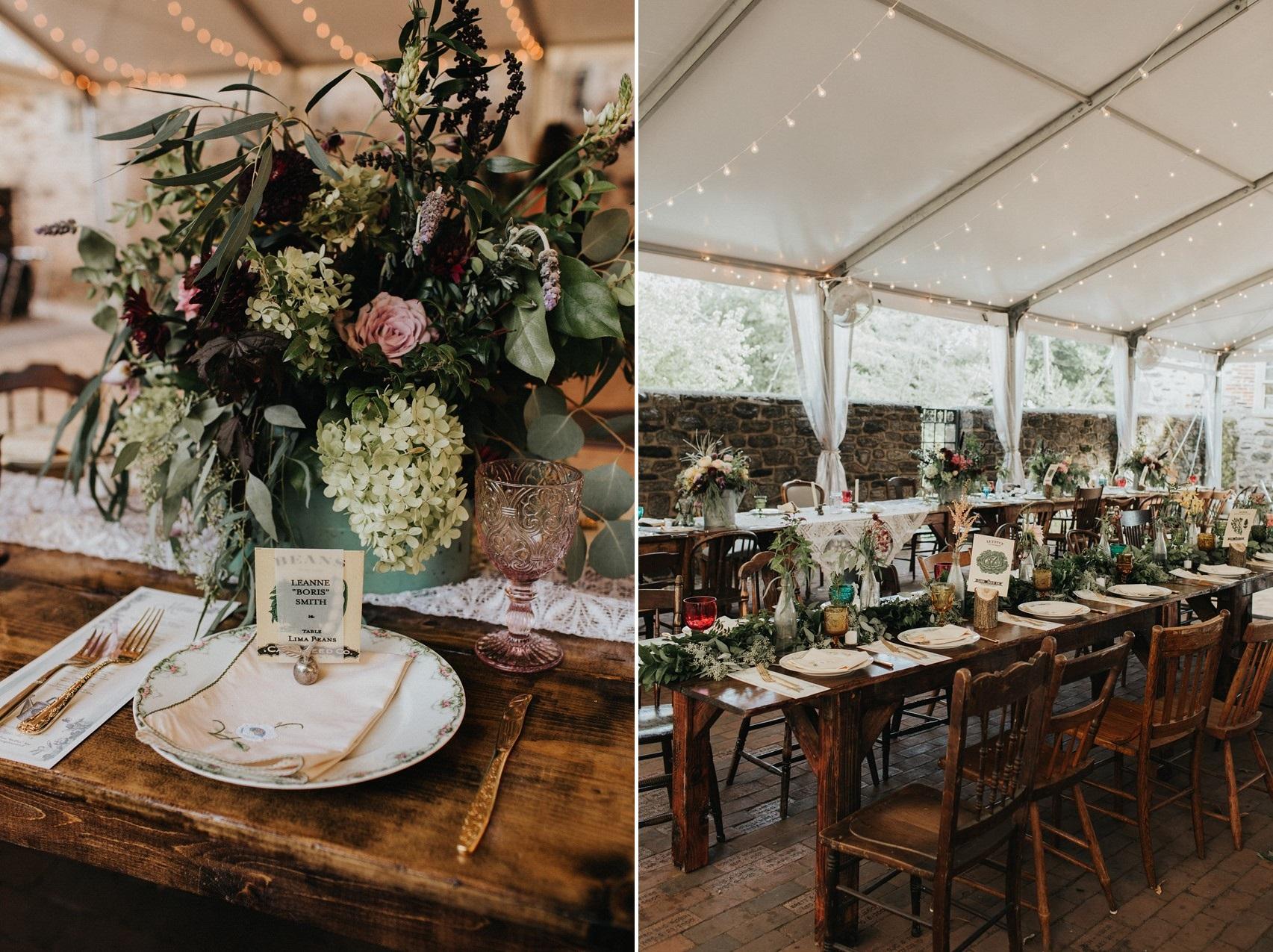 Rustic Vintage Garden Wedding Reception