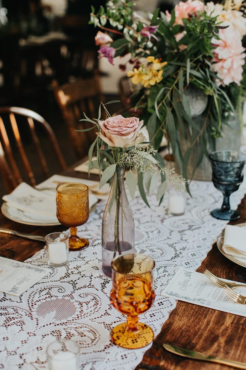Rustic Vintage Garden Wedding Table Decor