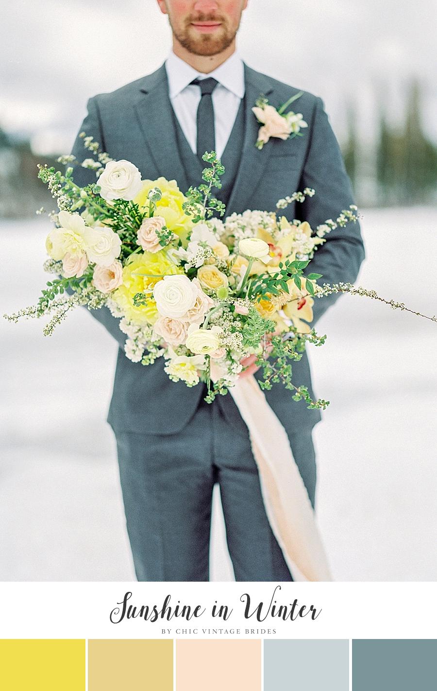 Winter Sun Yellow Winter Wedding Color Palette