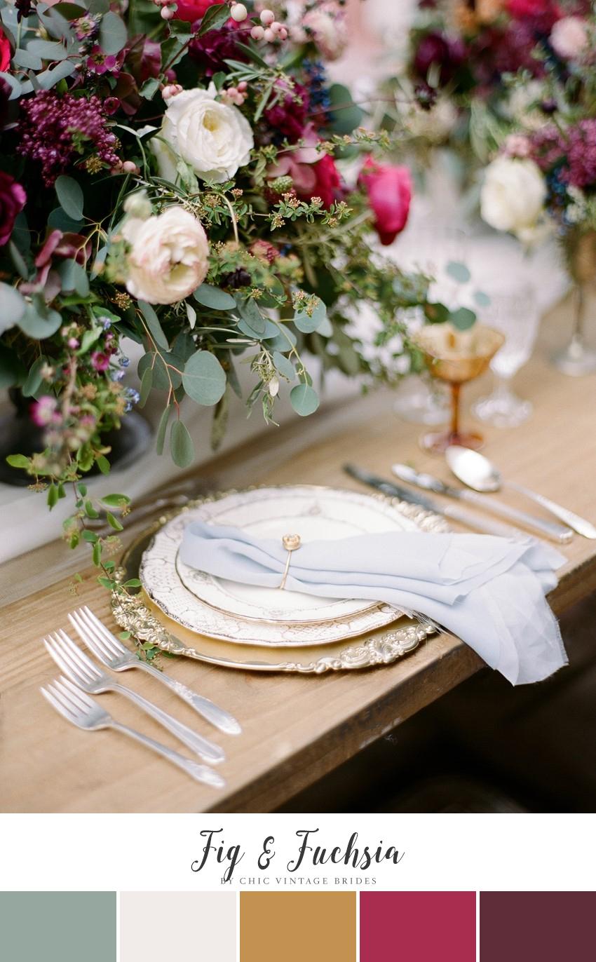 Fig & Fuchsia Winter Wedding Color Palette