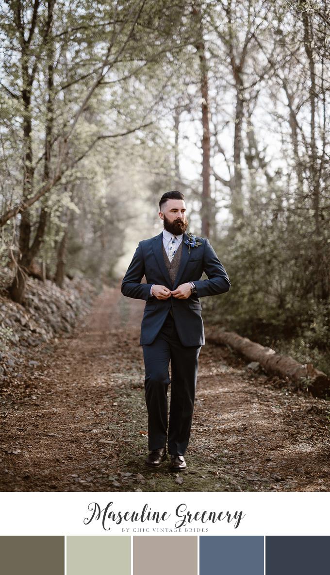 Masculine Winter Wedding Color Palette