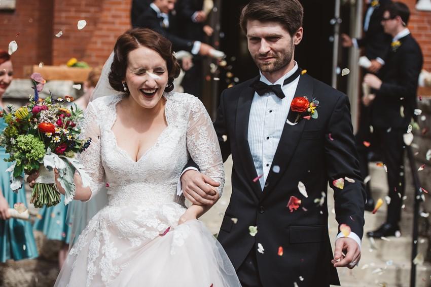 Romantic Church Wedding Confetti Toss
