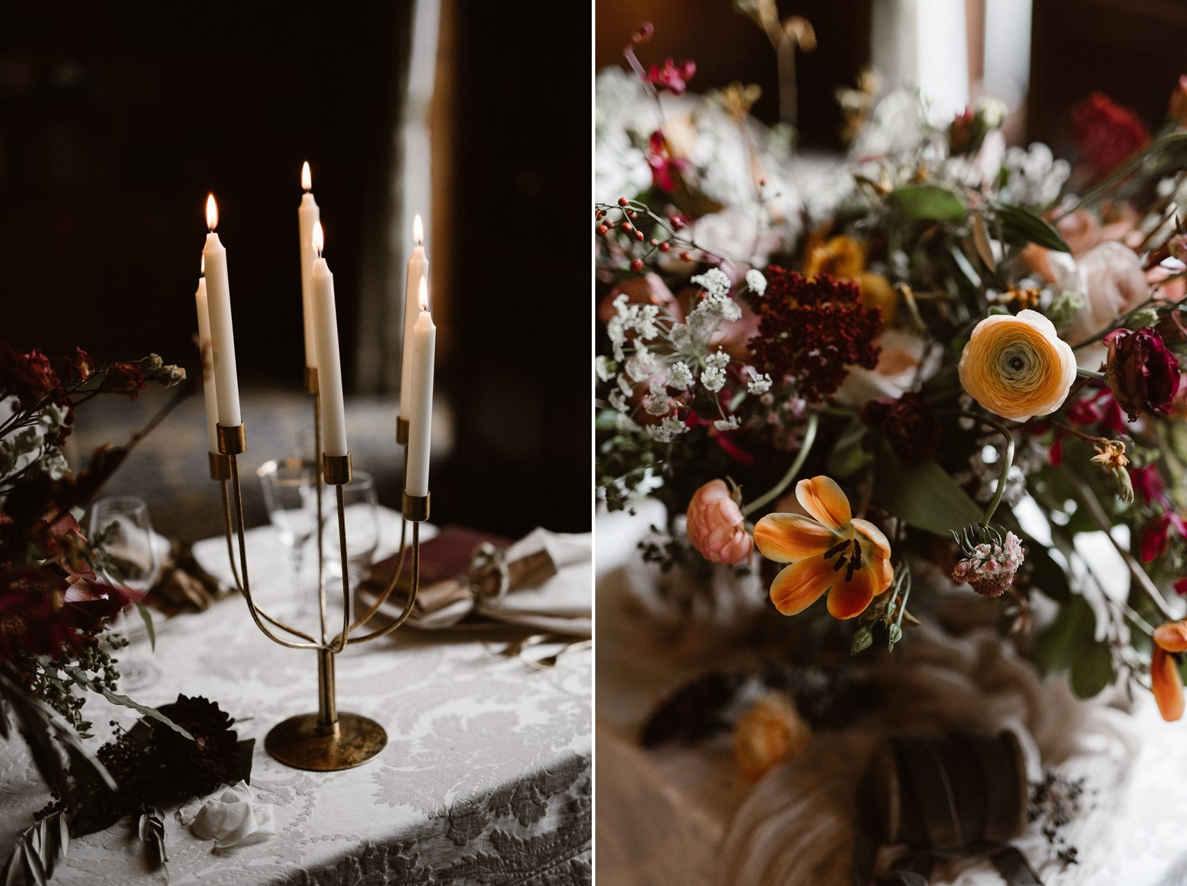 Elegant Modern Vintage Wedding Table Decor