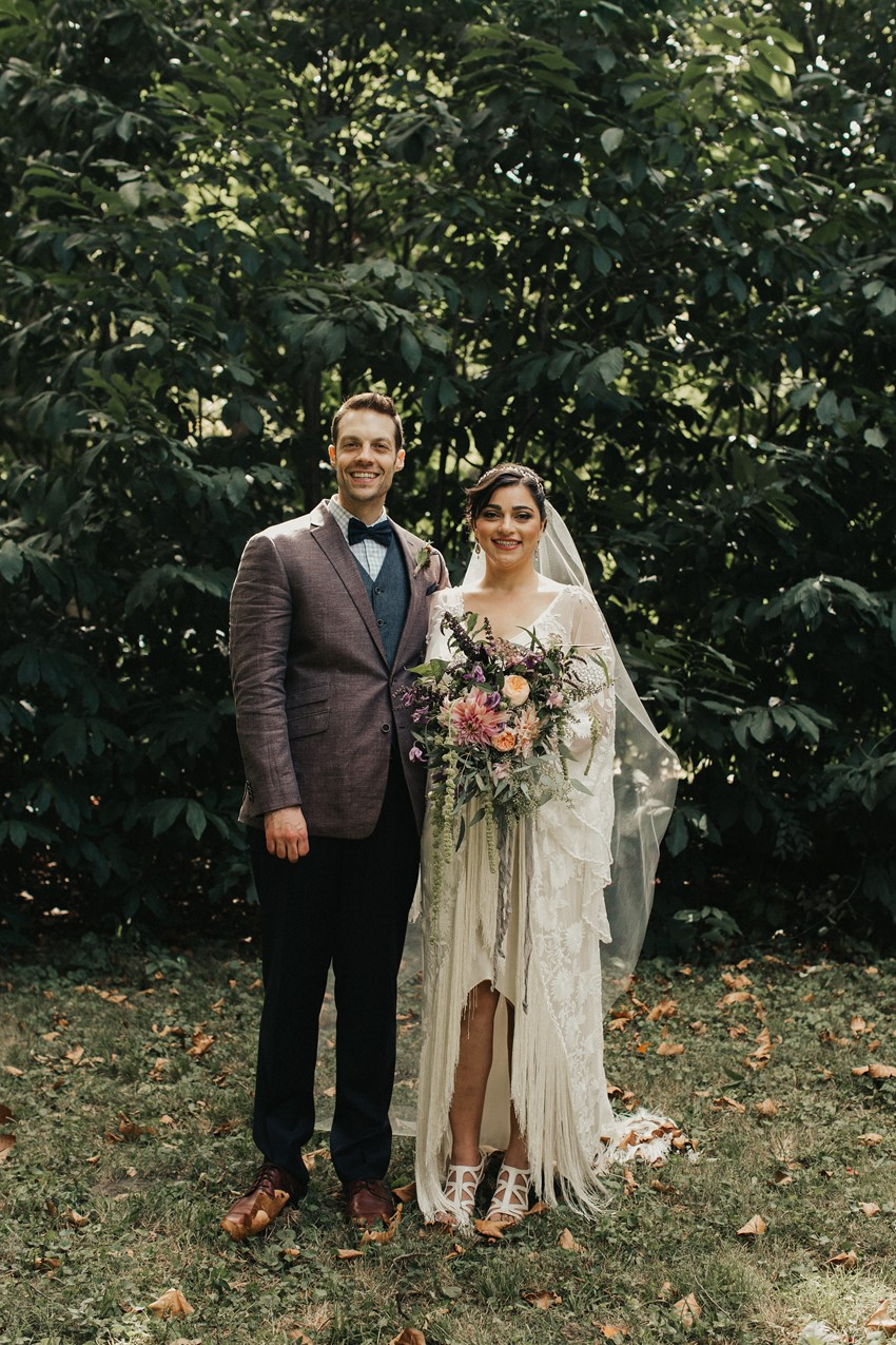 Boho Vintage Bride & Groom Garden Wedding