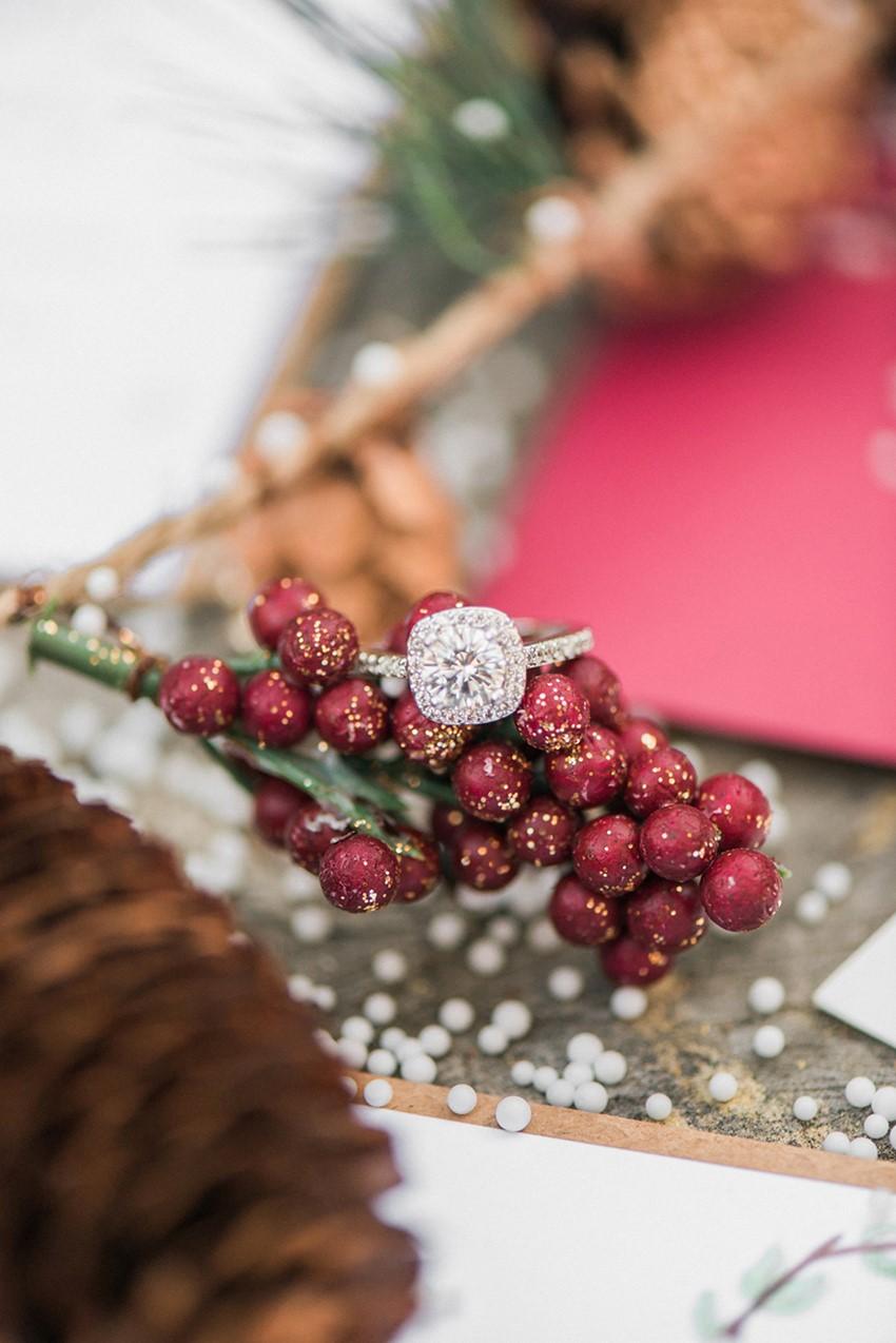 Christmas Engagement Halo Engagement Ring