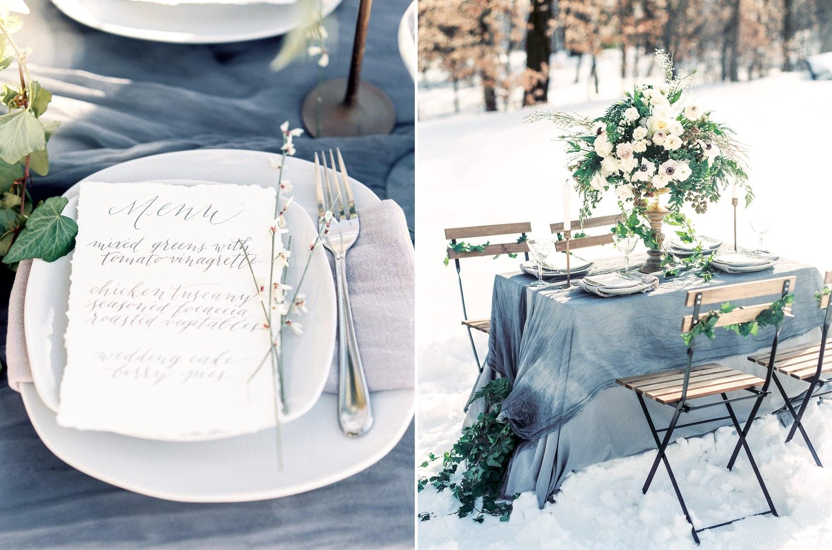 Dusky Blue Winter Wedding Table