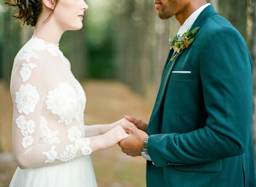Emerald Green and Gold Woodland Wedding Bride & Groom
