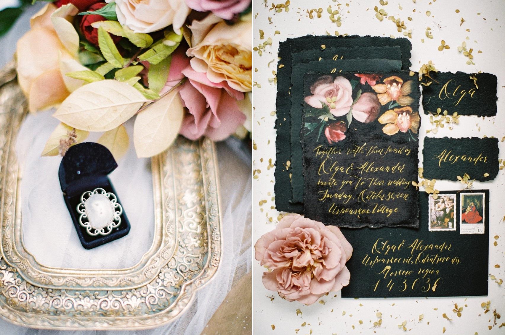 Calligraphy Black Wedding Stationery
