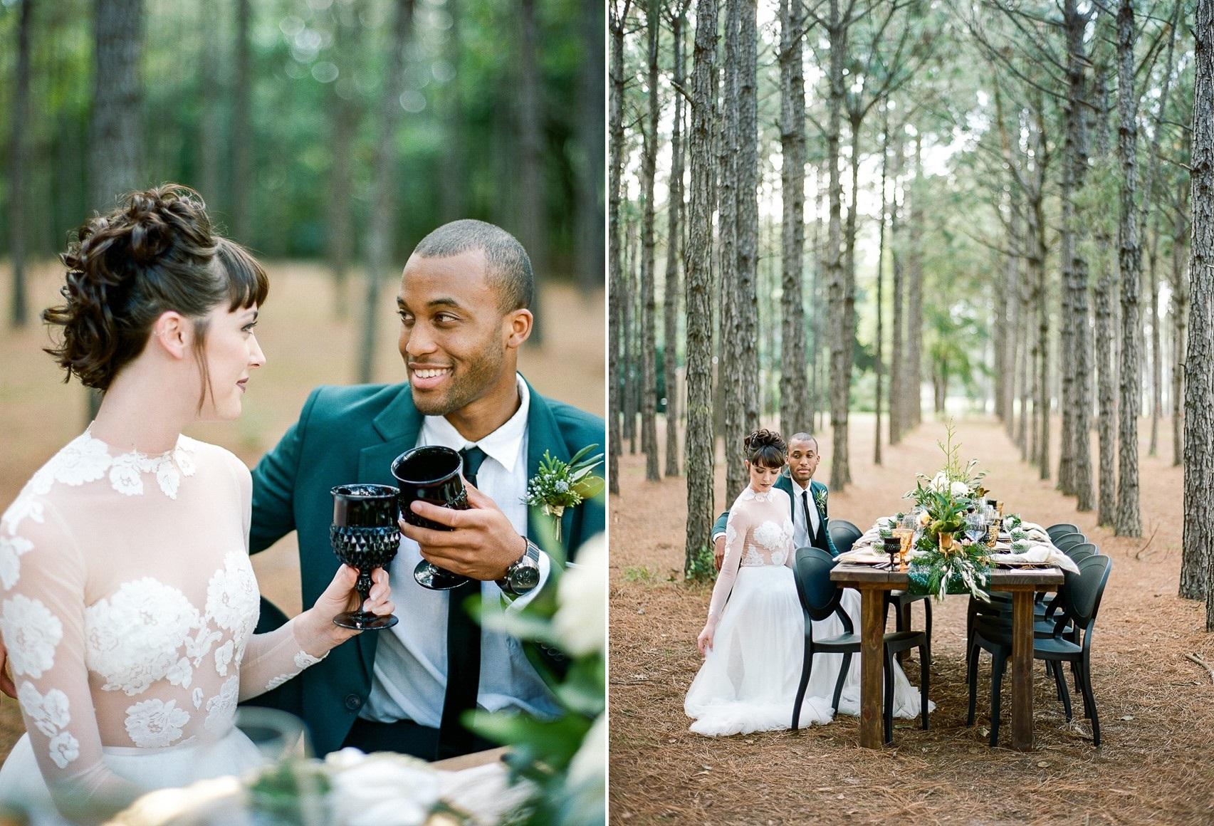 Emerald Green and Gold Woodland Wedding