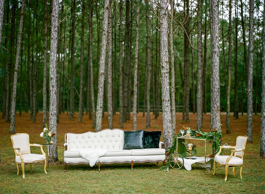 Emerald Green and Gold Woodland Wedding Lounge