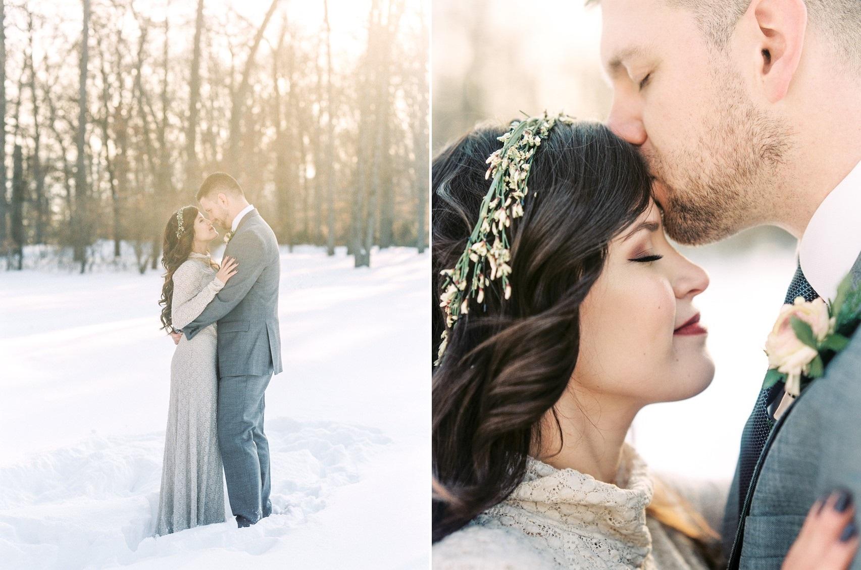 Romantic Winter Wedding Bride & Groom