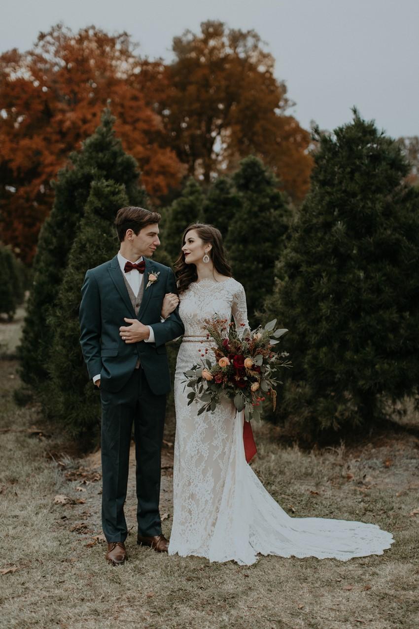Fall Christmas Tree Farm Wedding Inspiration