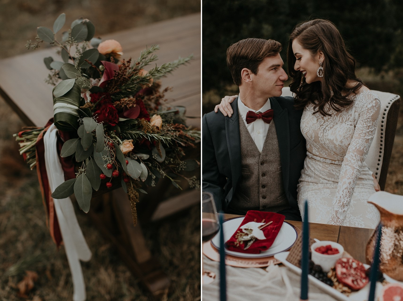 Red & Copper Bridal Bouquet