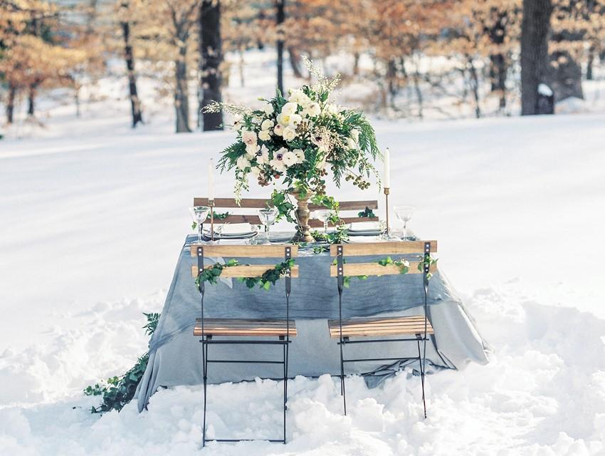 Snowy Winter Wedding Table