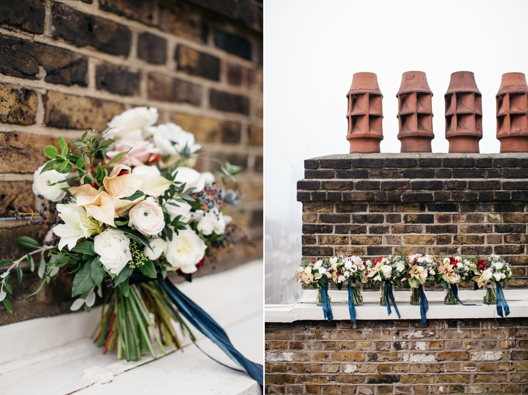 Vintage Winter London Wedding Bouquets