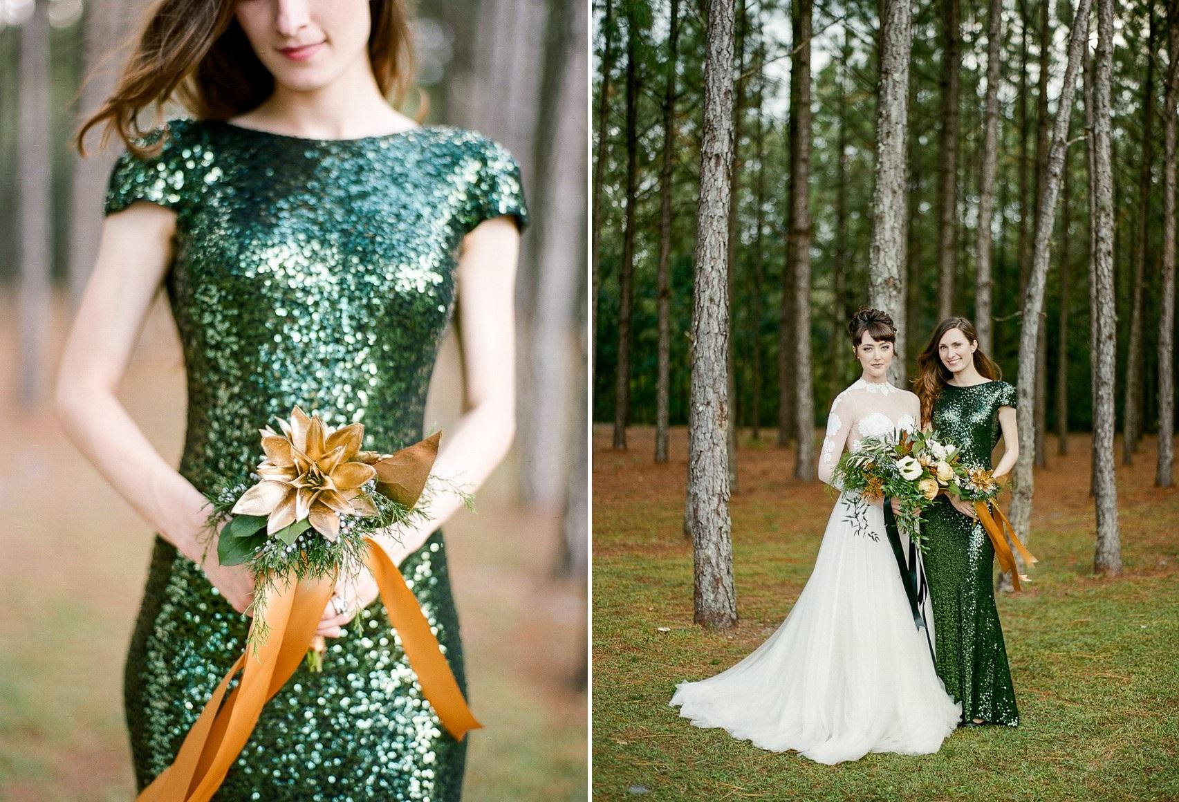 Emerald Green and Gold Holiday Wedding Bride & Bridesmaid