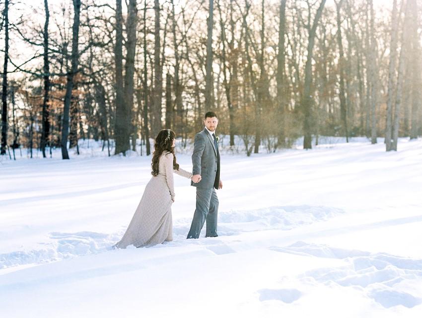 Neutral Snowy Winter Wedding