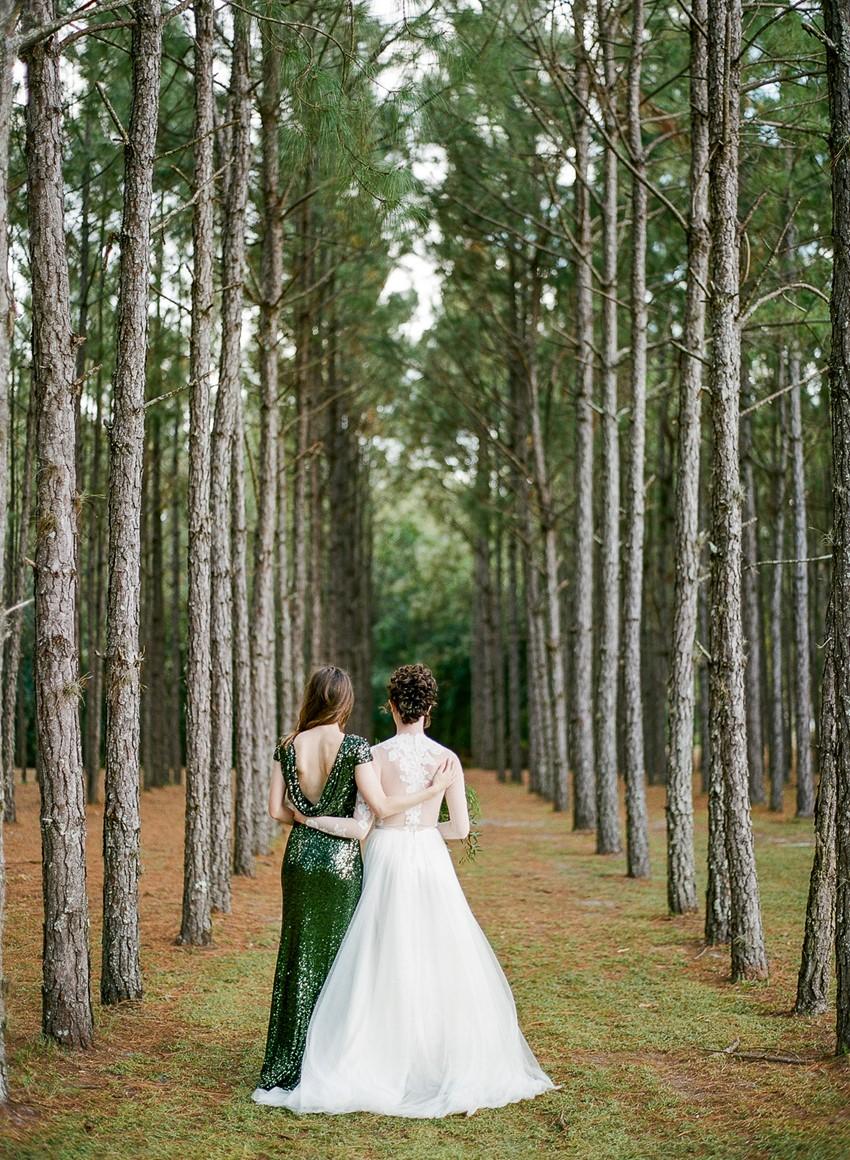 Emerald Green and Gold Woodland Wedding Bride & Bridesmaids