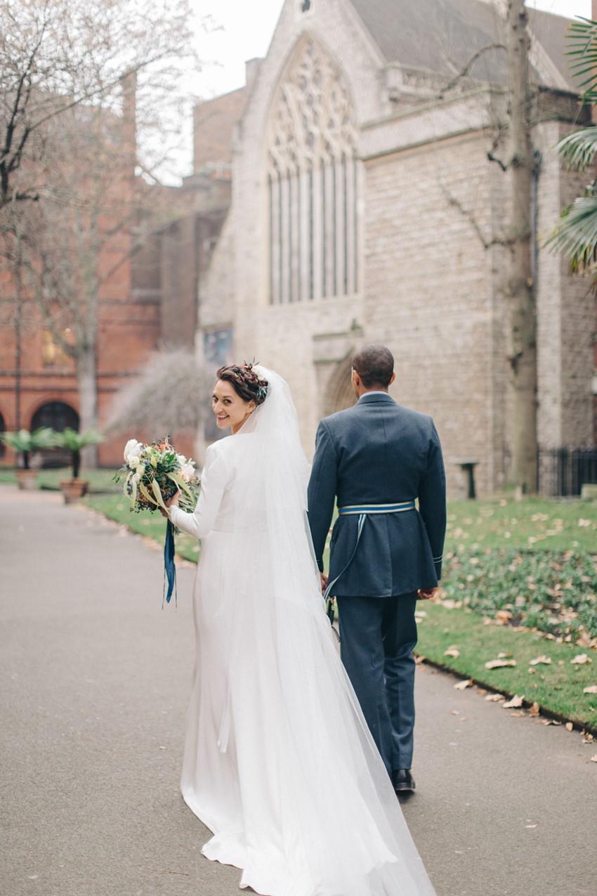 English Winter Wedding Bride & Groom
