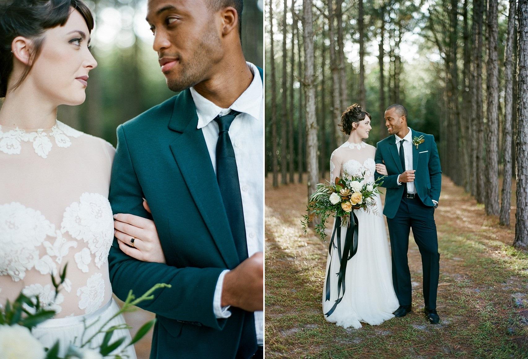 Emerald Green and Gold Wedding Bride & Groom