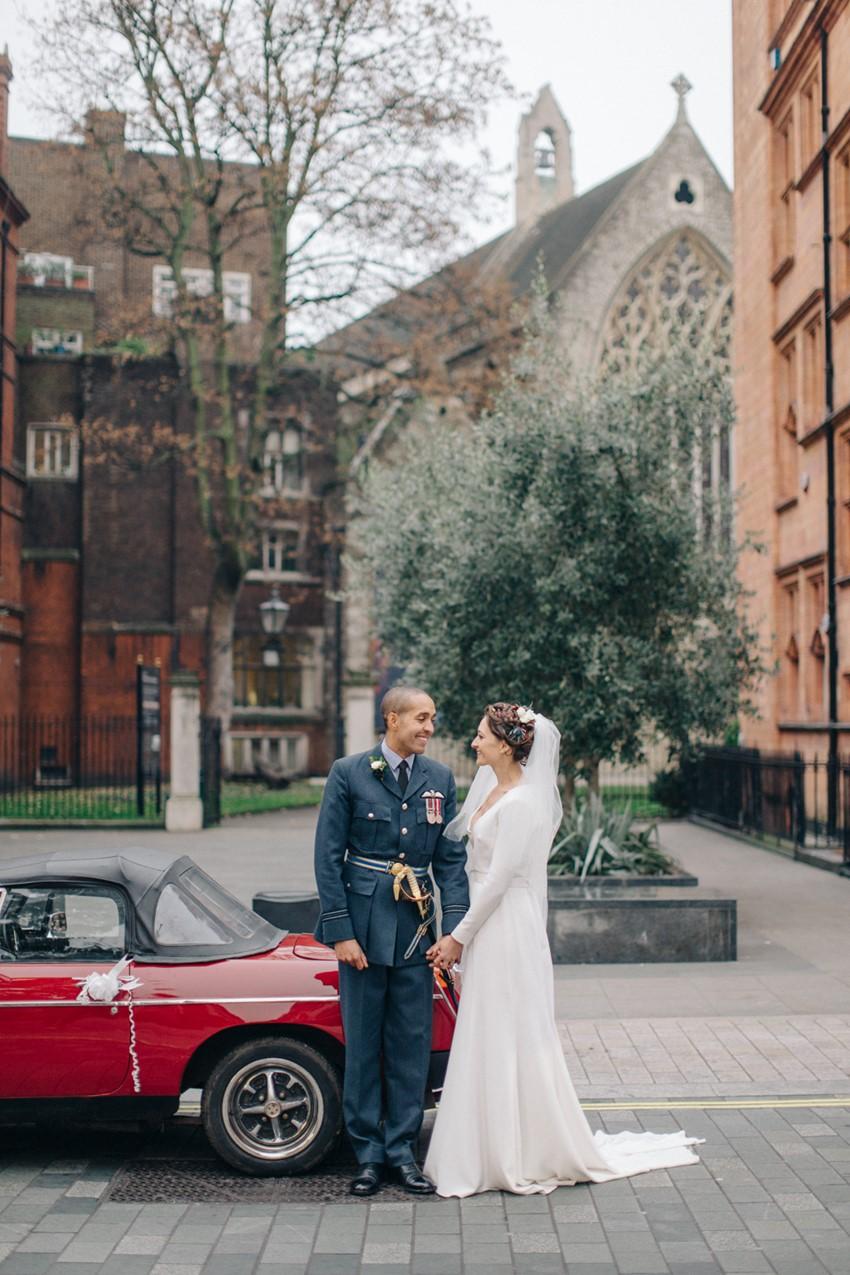 English Winter Wedding Bride & Groom & Vintage Car