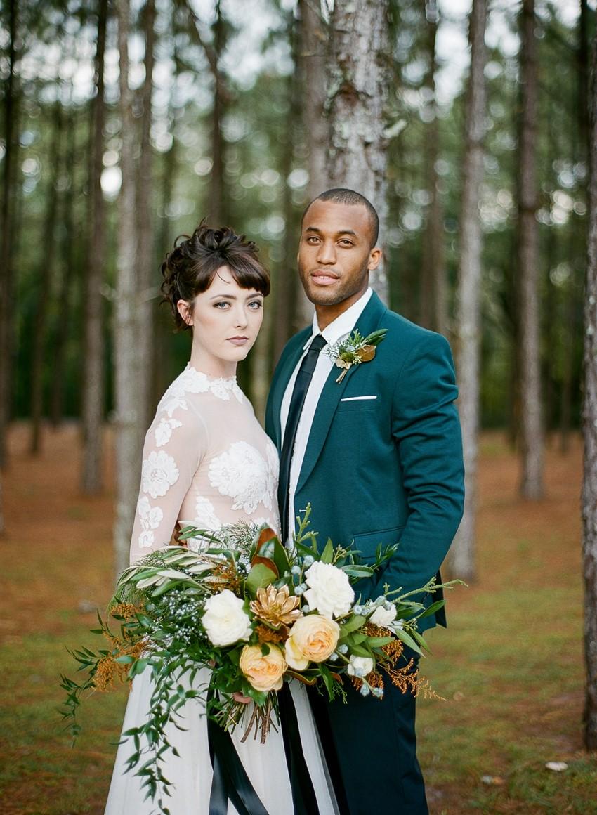 Emerald Green and Gold Holiday Wedding Bride & Groom