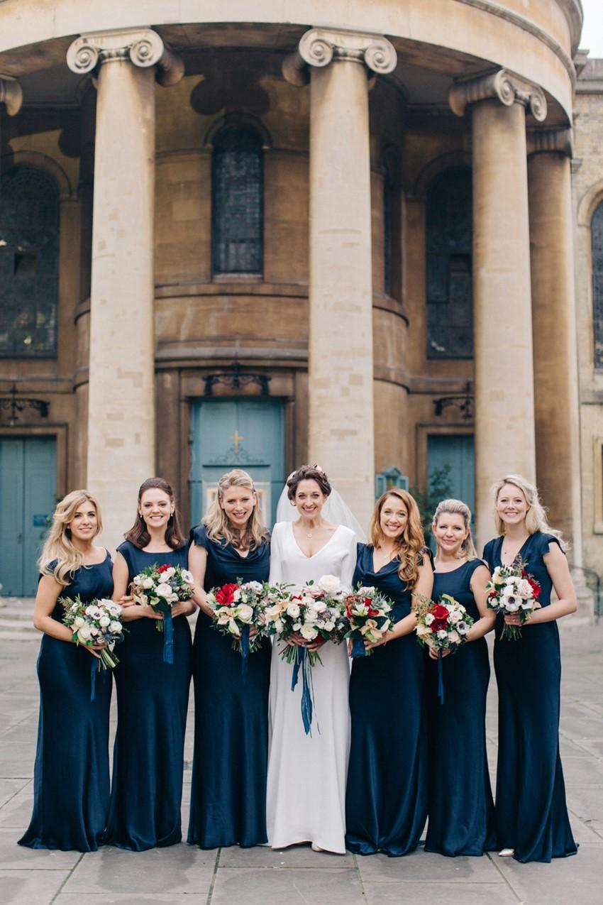 English Winter Wedding Bride & Bridesmaids